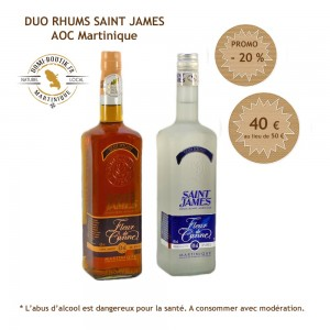 Duo de RHUMS Fleur de Canne Saint James 2 x 700 ml